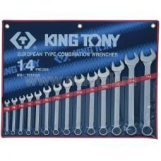 """Набор комбинированных ключей, 5/16""""-1-1/4"""", 14 предметов KING TONY 1214SR"""